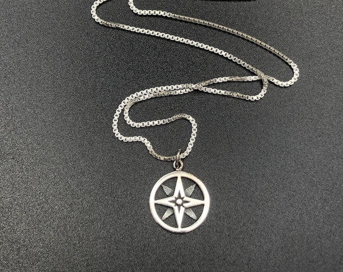 Northern Star Celestial Compass Style Necklace in Sterling Silver, Steampunk Compass Necklace, Unisex Necklace Designs