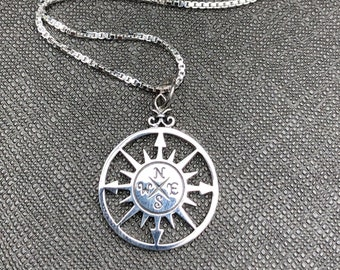 North East South West Compass Style Necklace in Sterling Silver, Steampunk Compass Necklace, Celestial Compass Necklace Designs