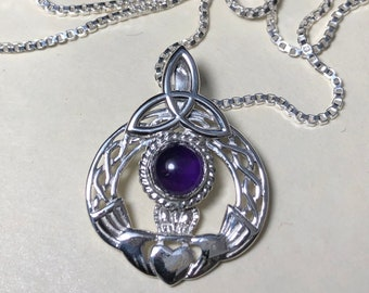 Irish Amethyst Opal Moonstone Necklace Sterling Silver, Celtic Claddagh Necklaces with Cabochon, Charmed TV Show, Gifts For Her, Birthday