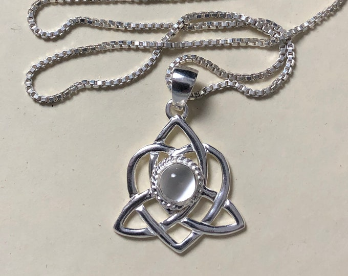 Celtic Sisters Knot Moonstone Necklace in Sterling Silver, Irish Gemstone Necklace, Gifts For Her, Charmed TV Show, Celtic Jewelry