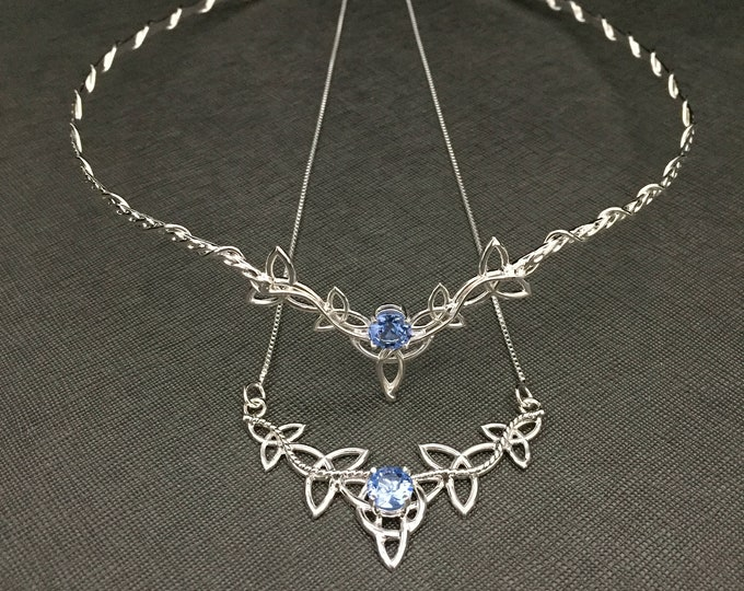 Celtic Knot Bridal Circlet with Aquamarine, Matching Celtic Necklace, Tiara and Necklace Bridal Set, Gifts for Her, Alternative Bridal