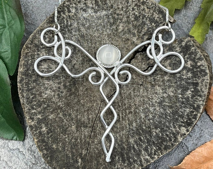 Bohemian Moonstone Necklace in Sterling Silver, Elvish Inspired Necklaces, Gifts For Her, Art Nouveau Wire Work Necklaces