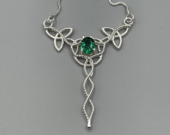 Celtic Trinity Knot Emerald, Sapphire, Amethyst Necklace, Irish Wedding Jewelry, Gifts For Her, Bohemian Jewelry, Sterling Silver Necklaces