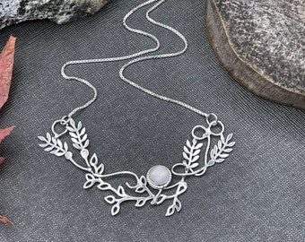 Victorian Fern Leaf Necklace in Sterling Silver with 8mm Gemstone, 16 Inch Box Chain, OOAK necklace for wedding, Woodland