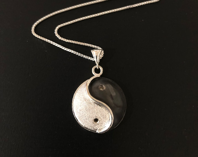 Yin Yang Necklace, Zen Necklace, Handmade Yin Yang Jewelry, 18 Inch Sterling Box Chain, Sterling Silver, Handmade, Eastern Religious Jewelry