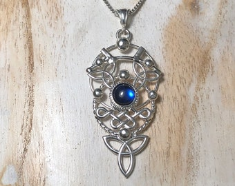 Celtic Knot Eclectic Moonstone Necklaces in Sterling Silver, Irish Jewelry Designs, Scottish Necklaces, Celestial Celtic Necklaces
