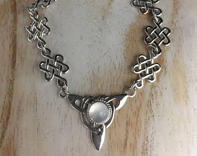Irish Celtic Gemstone Bracelet in Sterling Silver,  Linkable Jewelry, Gifts For Her, Bohemian Bracelet