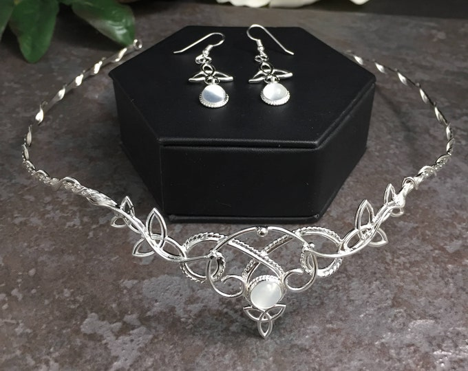 Celtic Knot Bridal Jewelry Set, Irish Weddings, Trinity Knot Tiara, Neck Torc, Earrings MOONSTONE Bridal Accessories, Gifts For Her