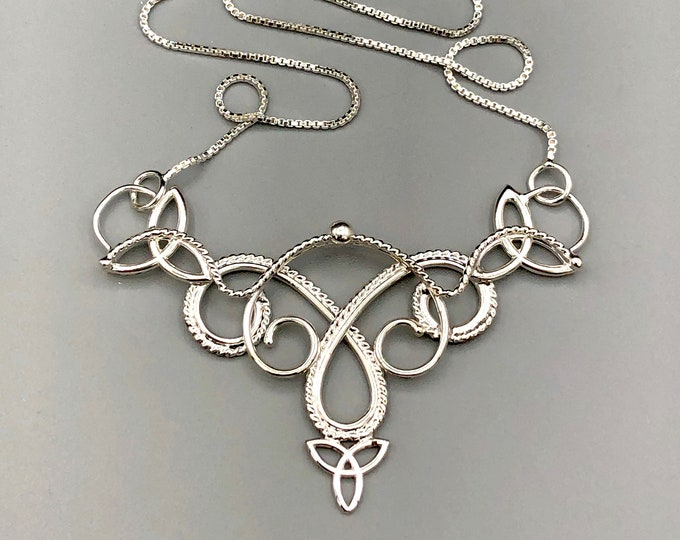 Celtic Knot Sterling Silver Necklace with 16 Inch Box Chain, Boho Victorian Necklaces, Handmade Celtic Jewelry, Sterling Silver