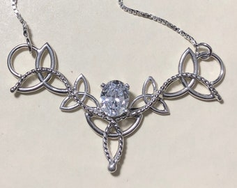Celtic Trinity Knot Cubic Zirconia Necklace In Sterling Silver, Victorian Celtic Jewelry, Gifts For Her, Classical Jewelry Styles