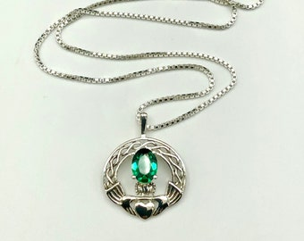 Claddagh Emerald Irish Necklace in Sterling Silver, Gifts For Her, Celtic Knot Symbolic Jewelry, Gift for Her, Birthday