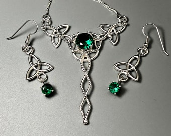 Celtic Knot Necklace and Earrings Set, Irish Jewelry Sets, Gifts For Her, Celtic Knot Necklace with Emerald, Amethyst Sapphire