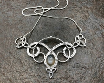 Celtic Knot Amethyst Gemstone Necklace in Sterling Silver, Victorian Renaissance Necklace with 8mm Gem, Gifts for Her, Wedding Accessory
