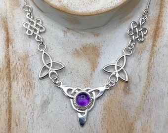 Celtic Knot Amethyst Sapphire Moonstone Necklace, Irish Necklace, Gifts For Her, Anniversary, Irish Weddings, Renaissance Necklaces