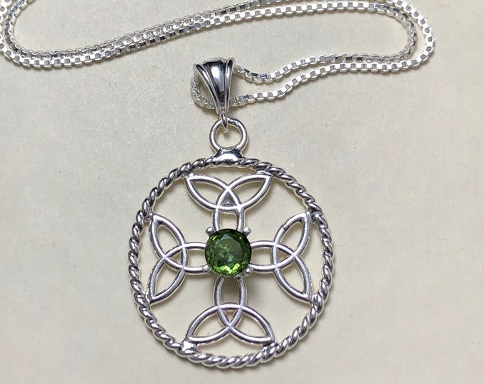 Celtic Dara Knot Emerald Amethyst Sapphire  Necklaces in Sterling Silver. Irish Weddings, Symbolic Necklaces, Celtic Symbolic