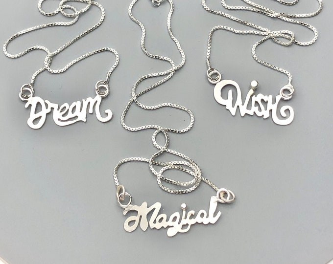 Inspiration Quote Word Necklace in Sterling Silver, Gifts For Her, Symbolic Necklaces, Handmade Jewelry