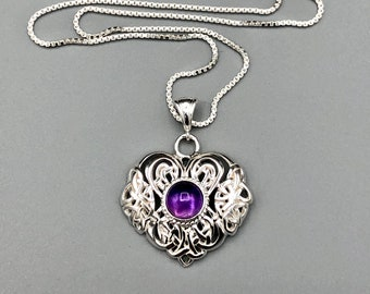 Celtic Irish Heart Amethyst Sapphire Moonstone Necklace in Sterling Silver, Irish Jewelry, Gifts for Her, Anniversary