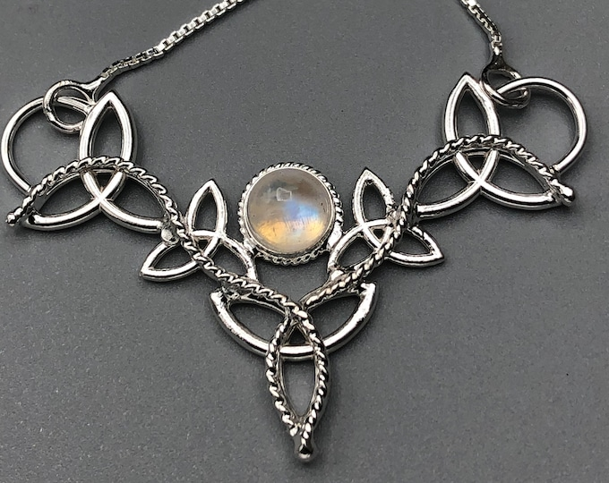 Celtic Trinity Knot 8mm Amethyst Sapphire Moonstone Necklace, Gifts For Her, Irish Symbolic Necklaces, Gifts For Her, Handmade