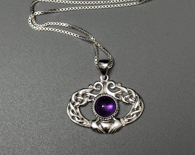Irish Amethyst Moonstone Necklace Sterling Silver, Celtic Claddagh Necklaces with Cabochon, Charmed TV Show, Gifts For Her, Birthday
