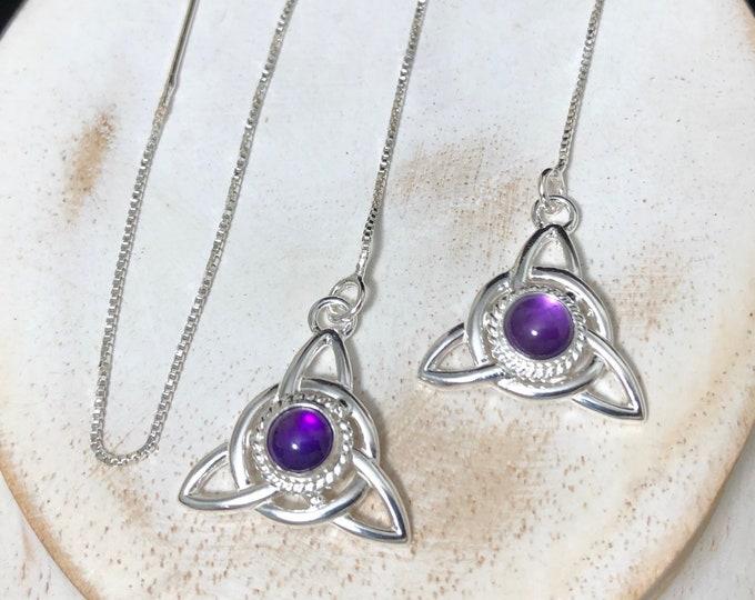 Celtic Knot Amethyst, Moonstone, SapphireThread Earrings, Long Ear Threads in Sterling Silver, Ear Jewelry, Gifts For HerCute Earr