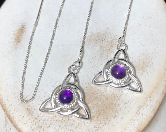 Celtic Knot Amethyst, Moonstone, SapphireThread Earrings, Long Ear Threads in Sterling Silver, Ear Jewelry, Gifts For Her