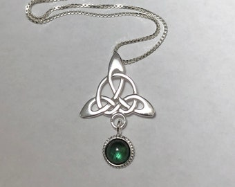 Celtic Trinity Knot Gemstone Drop Necklace with 18 inch Sterling Silver Box Chain, Irish Gemstone Necklace, Gifts For Her, Birthday Gift