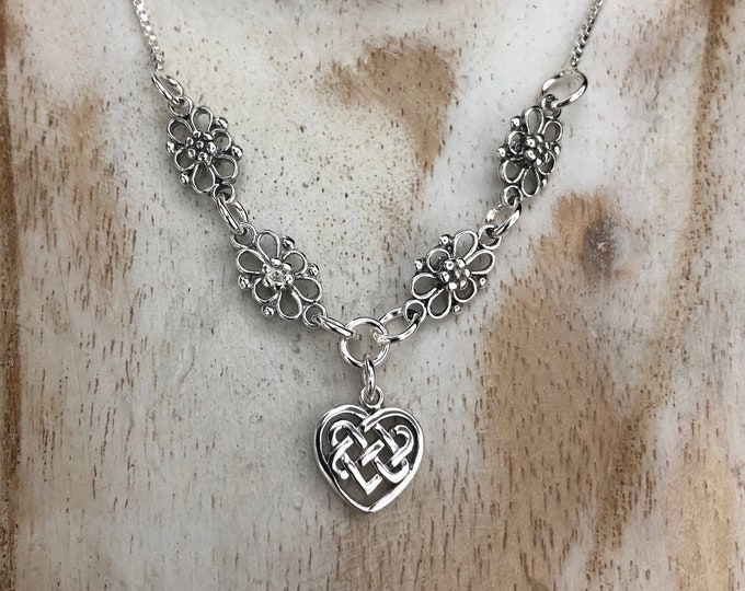 Irish Heart Necklace in Sterling Silver with 18 Inch Box Chain, Irish Necklaces, Scottish Necklaces, Gifts for Her