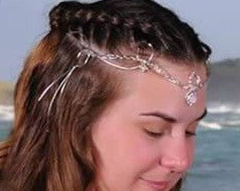 Renaissance Bridal Tiara in Sterling Silver with Gemstone, Gypsy Wedding Circlet, Woven Braid Circlet