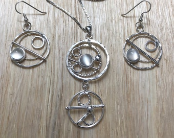 Bohemian Hoop Celestial Necklace and Earrings Set in Sterling Silver, Artisan Abstract Jewelry Sets with Gemstone, Handmade OOAK Jewelry