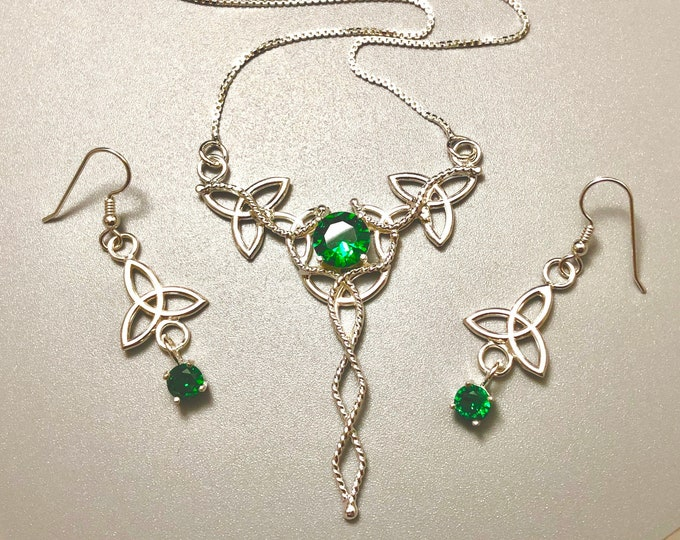 Irish Emerald Necklace & Earring Set, Gifts For Her, Sterling Silver, Celtic Earrings, Emerald  Victorian Neck Jewelry, Wedding Set