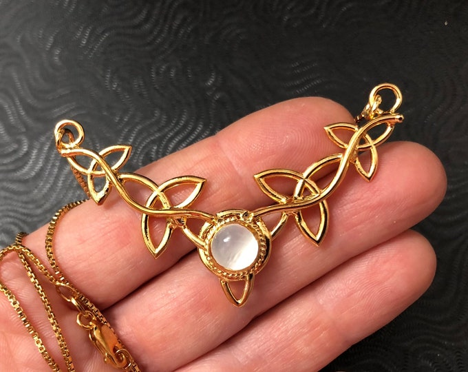Celtic Trinity Knot Moonstone Necklace with 16 Inch Box Chain in Sterling Silver and 24K Plating, Artisan Irish Necklaces 24K Gold Plate 925