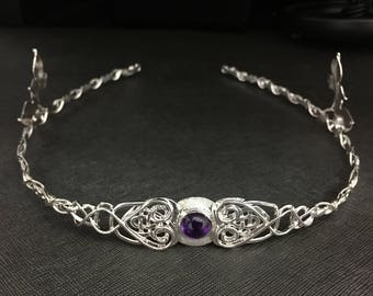 Celtic Trinity Knot Amethyst Tiara Sterling Silver, Celtic Tiara, Celtic Leaf Circlet, Artisan Handmade Bridal Accessories, Irish Weddings