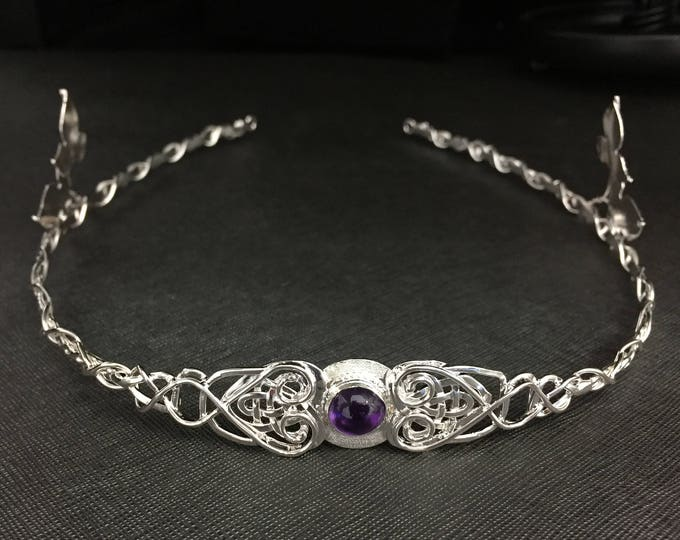 Celtic Trinity Knot Amethyst Tiara Sterling Silver, Celtic Tiara, Celtic Leaf Circlet, Artisan Handmade Bridal Accessories, Irish Weddings