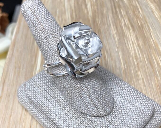Floral Rose Ring in Sterling Silver, Artisan Rose Ring, Gifts for Her Rose Jewelry, Statement Floral Ring, Whimsical Flower Jewelry Designs