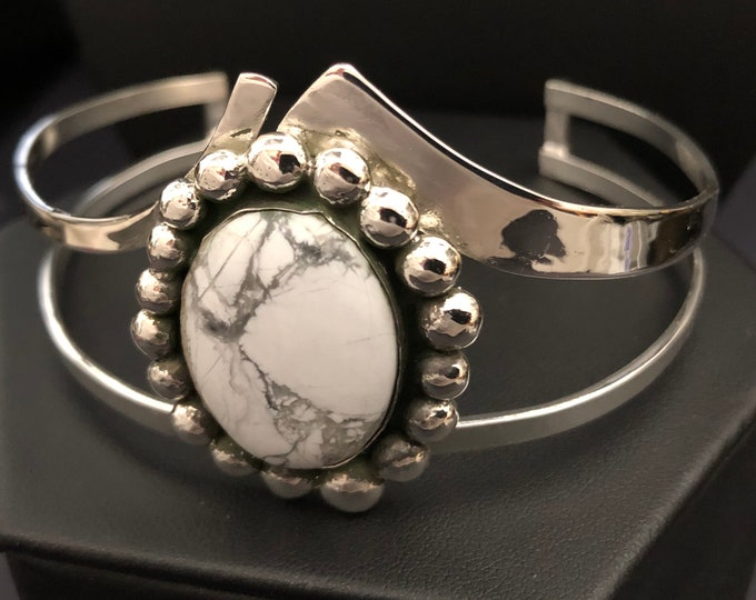 Bohemian Stevie Nicks Style Statement Bracelet Cuff in Sterling Silver, Custom Made to Wrist Size, White Turquoise