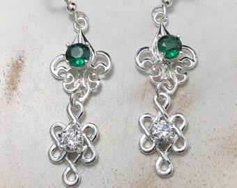 Celtic Dangle Drop Gemstone Earrings, Irish Drop Style Earrings, Fancy Gemstone Sterling Silver Earrings, Celtic Wedding, Celtic Jewelry
