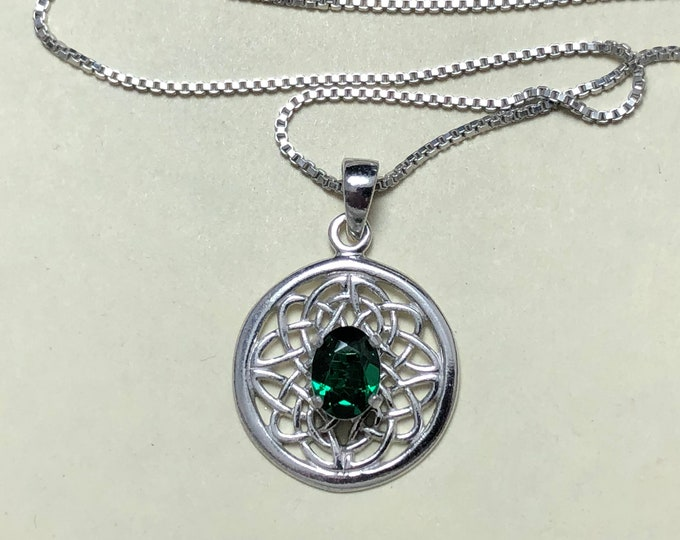 Celtic Knot Gemstone Necklace in Sterling Silver, Irish Symbolic Necklace with Emerald, Scottish Jewelry, Gift for Her, Anniversary