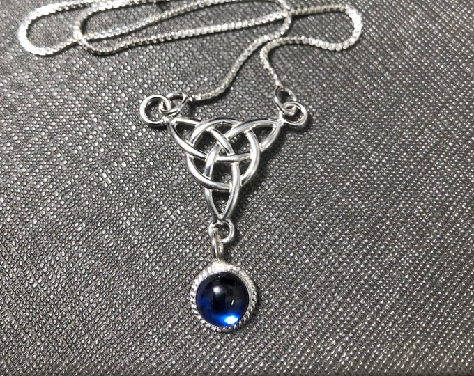 Celtic Drop Trinity Knot Necklace,  Gemstone Irish Necklace, Sterling Silver Box Chain, Sterling Silver, Celtic Jewelry, Handmade Celtic