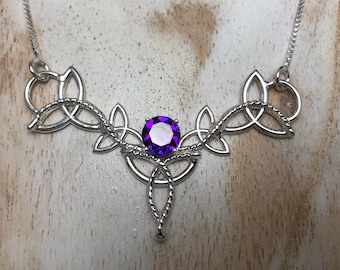 Celtic Scottish Triquettra Amethyst Necklace, Irish Necklaces, 16 Inch Sterling Box Chain, Handmade Celtic Wedding Necklace, 925