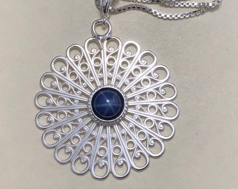 Filigree Sapphire Statement Necklace in Sterling Silver, Gifts For Her, Aztec Designs, Symbolic Jewelry Designs