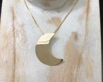 Solid 14K Stevie Nicks inspired Gold Moon Pendant Necklace, Stevie Nicks Gold Moon, Handmade Jewelry, 18 Inch Gold-Filled chain
