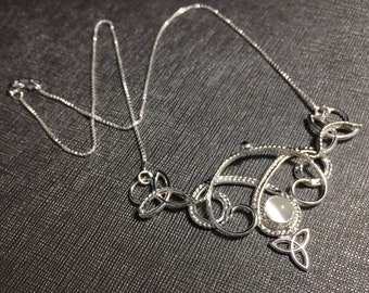 Celtic Knot Gemstone Necklace in Sterling Silver, Handmade Bohemian Necklaces, Gifts for Her, Birthday Gifts, Neck Jewelry