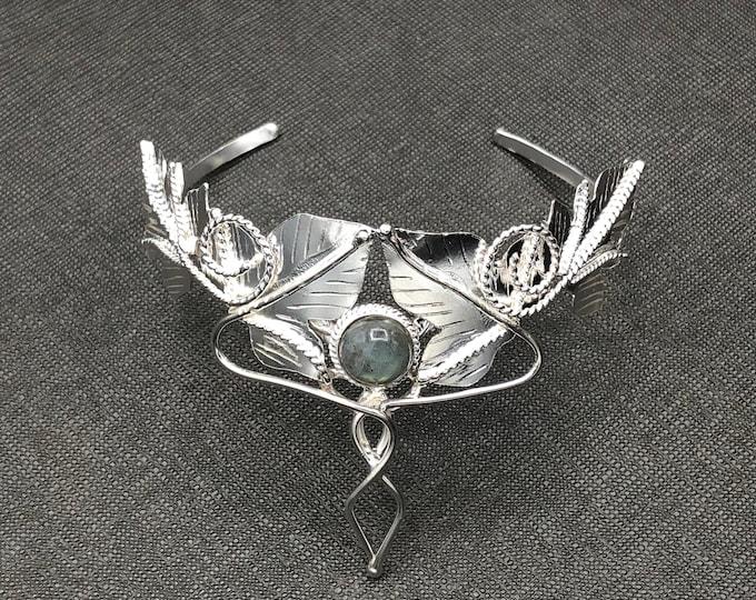 Woodland Amethyst Bracelet Cuff in Sterling Silver, Celtic Leaf Cuff Bracelet, OOAK Fae Elvish Woodland Bracelet Cuffs, Gifts For Her