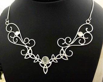 Large Celtic Statement Necklace, Wide Bohemian Style Choker, Art Nouveau Large Necklace, Fantasy Handmade Necklace, Renaissance Wedding