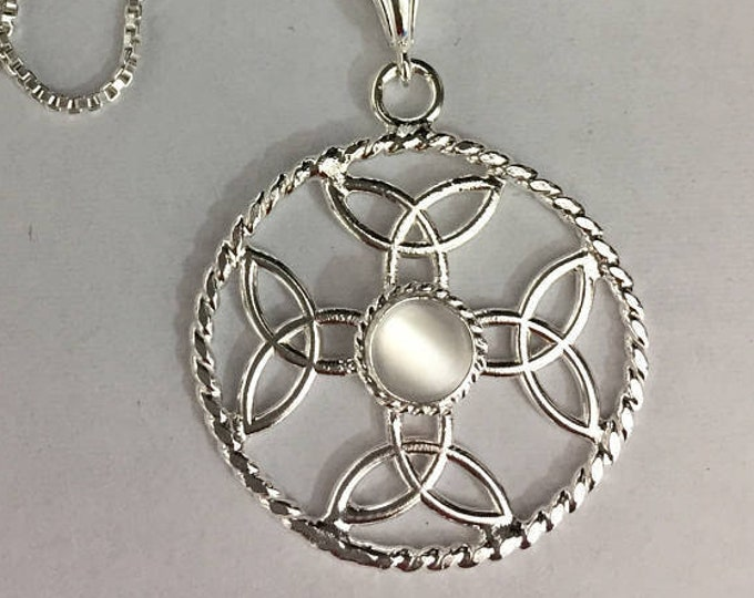 Celtic Dara Knot Eternity Gemstone Necklace in Sterling Silver, Handmade Irish Celtic Knot Necklaces, Symbolic Necklace Jewelry