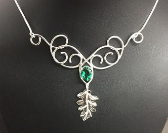 Woodland Leaf Emerald Necklace in Sterling Silver, Artisan Handmade Bohemian Necklace with Box Chain, Gifts For Her, Elvish Necklace