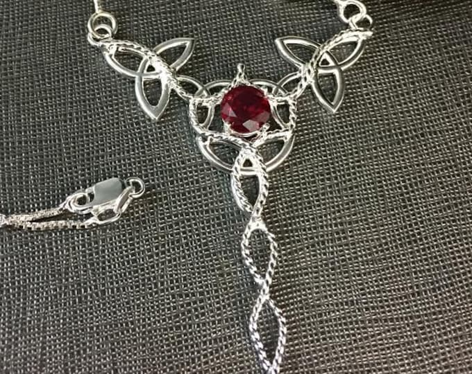 Celtic Knot Garnet Necklace in Sterling Silver, Irish Handmade Necklaces, Artisan Neck Jewelry