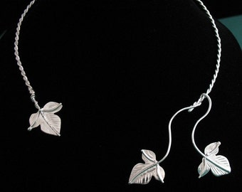 Woodland Leaf Neck Rings in Sterling Silver, Neck Torc Jewelry, Woodland Leaves Torc, Wedding Torc, Woodland Torc, OOAK torc,
