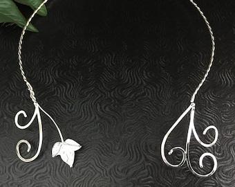 Woodland Elven Ivy Leaves Neck Torcs, Renaissance Fae Neck Torcs, 925 Handmade Ivy Leaf Neck Rings, Leaves Neck Torc, Sterling Silver Torc