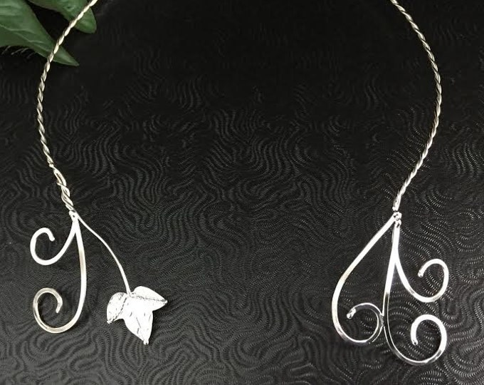 Woodland Ivy Leaves Neck Torcs, Renaissance Fae Neck Rings, 925 Handmade Ivy Leaf Neck Rings, Leaves Neck Torc, Sterling Silver Torc